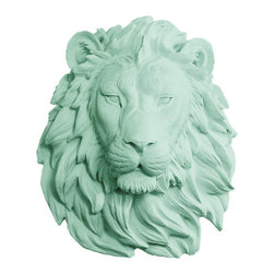 Wall Charmers - Wall Charmers Lion in Mint | Faux Taxidermy Resin Fake Head Art Fauxidermy Decor - WALL CHARMERS FAUX TAXIDERMY LION HEAD