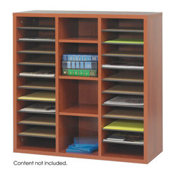 "Safco - Aprs Modular Storage Literature Organizer - Cherry - Your workspace is always changing, so when it does make sure it changes in style! With Aprs Modular Storage you can change your organization and storage options as you need them. Aprs works great in executive offices, managers offices, reception area, conference room, media center or training room. Use them together or individually to get the perfect amount of storage options. Additionally use pieces separately in lounge areas, home or work office, classroom or library. And if you ever need more storage space easily add another Aprs!; Features: Material: Hardboard (dividers), 3/4"" furniture-grade wood; Color: Cherry; Finished Product Weight: 59 lbs.; Assembly Required: Yes; Tools Required: Yes; Limited Lifetime Warranty; Dimensions: 29 3/4""W x 11 3/4""D x 29 3/4""H"