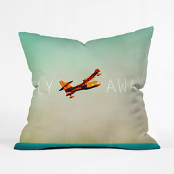 """Take Flight Gradient Throw Pillow Cover - Every now and then we all want to escape the rigmarole of everyday life and the Take Flight Gradient Throw Pillow Cover captures that feeling of breaking out into freedom. Even if you can't hop on a plane and take a flight, you can buy this beautiful throw pillow that features a vintage plane and the words """"fly away,"""" to always know that freedom is just a thought away."""