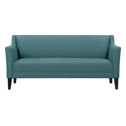 Margot Sofa, Turquoise Fargo - A tight back and seat cushion give this couch a clean look.