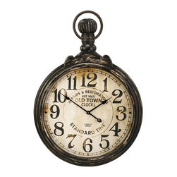 IMAX CORPORATION - Churchill Pocket Wall Clock - Oversized wall clock inspired by the styling of an antique men's pocket watch. Clock face has an antique finish and metal frame is finished with an aged metal patina. Find home furnishings, decor, and accessories from Posh Urban Furnishings. Beautiful, stylish furniture and decor that will brighten your home instantly. Shop modern, traditional, vintage, and world designs.