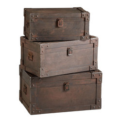 Kathy Kuo Home - Set of 3 Yuma Industrial Loft Iron Stacking Storage Trunk - Few items are more representative of industrial and rustic lodge style than vintage style trunks.  Evoking journeys long finished, flea market treasure hunts, and the mysteries of grandma's attic, metal trunks also deliver ample storage.  With reinforced edges and a rust finish, this trio of hard working  trunks would be right at home in a rustic cabin, lodge or industrial loft.