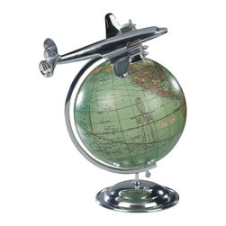 """Authentic Models - Authentic Models World Globe Airplane - Place this small unique model as your centerpiece and it will enhance any part of your home or office! This can be a great gift for a pilot or any world traveler. All of the aluminum is actual airplane aluminum hand buffed and polished to an Art Deco shine. Dimensions: 8.75"""" Length x 10.5"""" Width x 12.25"""" Height."""