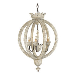 Currey and Company - Dauphin Chandelier, Small - A Stockholm White finish gives the hand carved wood frame of the Small Dauphin Chandelier a sophisticated look of elegance. The details are all perfectly attended to in this classic design.