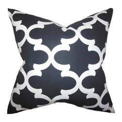 """The Pillow Collection - Titian Geometric Pillow Black White 18"""" x 18"""" - Give your living space a hip style with this throw pillow. This accent pillow features a geometric pattern in shades of black and white. Toss this anywhere inside your home where it needs texture and styling. Use this toss pillow as a statement piece on your bedroom or living room. Made of 100% high-quality cotton fabric."""