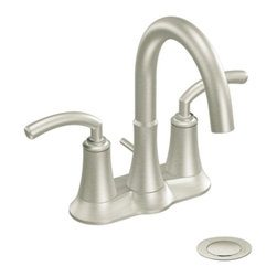 "Moen - Moen S6510BN Icon Two Handle Centerset Bathroom Sink Faucet with Valve in Brushe - Moen S6510BN Icon Two Handle Centerset Bathroom Sink Faucet with Valve in Brushed NickelThe Icon collection offers modern style that perfectly fits contemporary decor. Icon combines urban chic that takes the ordinary to the extraordinary.Moen S6510BN Icon Two Handle Centerset Bathroom Sink Faucet with Valve in Brushed Nickel, Features:• High-arc spout provides more clearance• Lever style handles• 4"" centerset design allows for easy installation• Includes pop-up metal drain assembly• 1/2"" IPS Connections• ADA Compliant• Aerated flow for everyday use• 1.5 GPM (5.7 l/min) max• Meets WaterSense criteria to conserve water without sacrificing performanceSpecification Sheet - Moen S6510BN Moen Limited Lifetime WarrantyView the Entire Moen Icon CollectionView All"