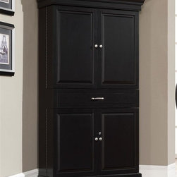 American Heritage - Francesca Bar Corner Unit in Black - Finished in a striking black with brushed steel accent hardware. Stemware holders line the top of the interior while three pull-out wine racks grace the bottom of the piece. The electrical outlet empowers you with blenders, mixers and the like with two sturdy storage drawers at your disposal. Majestic piano hinges give the swinging cabinet doors life-long strength and a smooth feel that conquers the test of time. To top it off both literally and figuratively, multiple lights rest above the stemware holders. Function and beauty align perfectly in this magnificent corner server. Clean with a damp cloth; warm water only. 37 in. W x 42 in. D x 74.25 in. H (281 lbs)