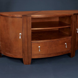 """Hammary - Oasis Entertainment Console in Rich Medium Brown Finish - """"A home knows that the world of furniture design is often a vast wasteland of dullness and unoriginality. Better to be safe and uninspired, some companies believe, than to be innovative and risk taking."""