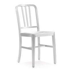 Zuo - Bistro Chair - The Bistro Chair is made out of a lightweight aluminum that is durable, but not difficult to move around.  The Bistro Chair is amazingly versatile.  Add a pair to a small bistro table for an intimate, comfortable setting.  Or why not add four bistro chairs for a smaller dining table.  Let the space determine your needs and then take your dining area from dull and drab and fill it with personality using this classic brushed aluminum chair.