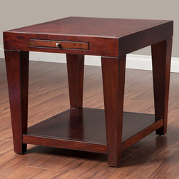 Alpine Furniture - Wilmington End Table with Shelf and Pull Out Tray - Wilmington End Table with Shelf and Pull Out Tray