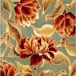 "Kas - Bella Aqua Versailles Floral 3'3"" x 4'7"" Kas Rug  by RugLots - Machine-woven in Belgium of 100% viscose, our Versailles Collection presents an extraordinary line of luxurious and trendy designs in a current color palette. These artistically detailed rugs range from traditionals and classics to striking floral looks. A luxurious sheen and ultra-soft pile make each of these fine faux silk pieces a work of art for any room throughout your home."