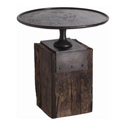 Arteriors - Anvil Side Table - Let this unique table add bold, rough-hewn charm to your home. It features a forged iron top inspired by 19th century cake stands and a block base of dark-waxed reclaimed wood.
