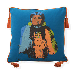 INUKT.com - Mohans - She is a Native American revisited by Warhol colors and style.  That is what makes her so contemporary and stylish. The orange trim and plush bull hide pompoms make her a real statement on a leather couch.