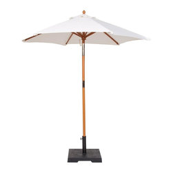 PRE Sales - 6 Foot Market Umbrella in Beige - Woven fabric Natural top. Tops treated with water repellant fabric protector solution. Pole unscrews in the middle. Compact transport and storage. Pulley and rope lift and lower system. Cleat on pole for handy rope tie-off. Top attached to 8 rib matching wood frame. Base not included (Base weight is 39 lbs.). 47 in. L x 6 in. W x 6 in. H (14 lbs)Perfect for outdoor events, patios, decks, etc. These handsome, woven fabric umbrellas add color and a festive look to your fiesta. You can install them in the hole in the middle of the table tops, providing a nice, shaded area for your guests. Or, the umbrellas can stand-alone, in our weighted bases. (Use a weighted base in EVERY installation, for safety.)