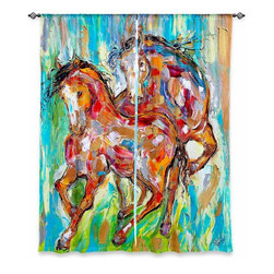 """DiaNoche Designs - Window Curtains Unlined by Karen Tarlton - Horse Play II - DiaNoche Designs works with artists from around the world to print their stunning works to many unique home decor items.  Purchasing window curtains just got easier and better! Create a designer look to any of your living spaces with our decorative and unique """"Unlined Window Curtains."""" Perfect for the living room, dining room or bedroom, these artistic curtains are an easy and inexpensive way to add color and style when decorating your home.  The art is printed to a polyester fabric that softly filters outside light and creates a privacy barrier.  Watch the art brighten in the sunlight!  Each package includes two easy-to-hang, 3 inch diameter pole-pocket curtain panels.  The width listed is the total measurement of the two panels.  Curtain rod sold separately. Easy care, machine wash cold, tumble dry low, iron low if needed.  Printed in the USA."""