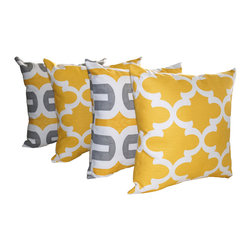 Land of Pillows - Embrace Corn Yellow and Storm Gray and Fynn Corn Yellow Throw Pillows - Set of 4 - Fabric Designer - Premier Prints