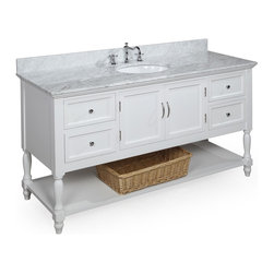 Kitchen Bath Collection - Beverly 60-in Single Sink Bath Vanity (Carrara/White) - This bathroom vanity set by Kitchen Bath Collection includes a white cabinet with soft close drawers, Italian Carrara marble countertop, single undermount ceramic sink, pop-up drain, and P-trap. Order now and we will include the pictured three-hole faucet and a matching backsplash as a free gift! All vanities come fully assembled by the manufacturer, with countertop & sink pre-installed.