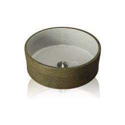 Eclectic Bathroom - Lenova PAC-03 Porcelain Above Counter Round Celadon Bath Sink