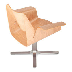 """Blu Dot - """"Blu Dot Buttercup Chair, White Oak"""" - """"With plywood bent for beauty and comfort, the Buttercup Chair cradles you in swiveling recline. Available in walnut or white oak with a brushed stainless steel base."""""""