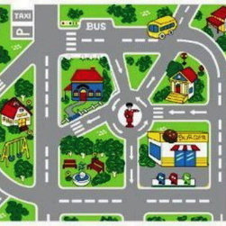 "Navitz LLC - Streets Children Area Rugs 39""x58"" - Non-slip cross pattern backing for hard surfaces"