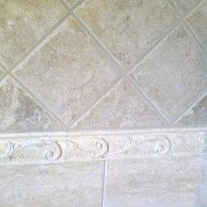 Mediterranean Bathroom by Kelly Lord, CKD, CBD