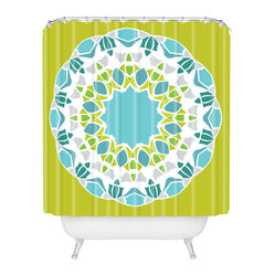 Karen Harris Mod Medallion Green Shower Curtain - Make a splish splash with this bold, mod-inspired shower curtain. A center medallion features aqua, citrine, avocado, lavender and white blooms across the lime background. Each piece is custom printed on woven polyester and is machine washable.