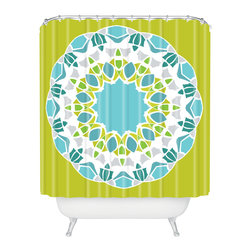 DENY Designs - Karen Harris Mod Medallion Green Shower Curtain - Make a splish splash with this bold, mod-inspired shower curtain. A center medallion features aqua, citrine, avocado, lavender and white blooms across the lime background. Each piece is custom printed on woven polyester and is machine washable.