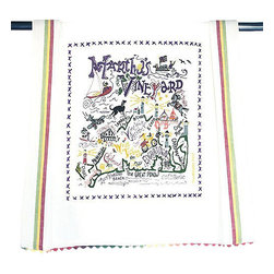 CATSTUDIO - Marthas Vineyard Dish Towel by Catstudio - This original design celebrates the region of Martha's Vineyard.  This design is silk screened, then framed with ahand embroidered border on a 100% cotton dish towel/ hand towel/ guest towel/ bar towel. Three stripes down both sides and hand dyed rick-rack at the top and bottom add a charming vintage touch. Delightfully presented in a reusable organdy pouch. Machine wash and dry.