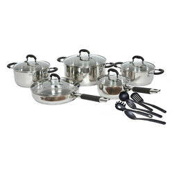 Gourmet Chef - Gourmet Chef 15-piece Stainless Steel Cookware Set Black or Red - Cook and look like a professional chef with this stainless-steel rubber-handle cookware set from Gourmet Chef. This 15-piece set is available with red or black handles,and includes a variety of pots,pans,and utensils,so you can prepare a tasty meal.