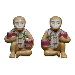 China Furniture and Arts - Hand Painted Porcelain Monkey Holders - These delicately hand painted porcelain monkey holders contain in a vessel of extraordinary beauty and proffer small stationary objects while creating an interesting focus wherever placed.