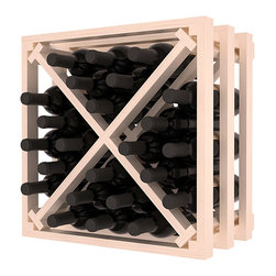 Lattice Stacking X Wine Cube in Pine with White Wash Stain + Satin Finish - Designed to stack one on top of the other for space-saving wine storage our stacking cubes are ideal for an expanding collection. Use as a stand alone rack in your kitchen or living space or pair with the 16-Bottle Cubicle Wine Rack and/or the Stemware Rack Cube for flexible storage.