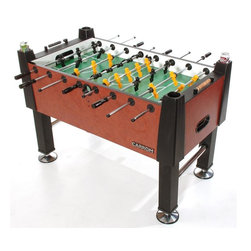 Carrom - Signature Foosball & Table Soccer in Moroccan Finish - Includes 2 sets of players, counter balanced with wider tournament style foot pattern, one hand-painted and corner ramps for single goalie assembly. Cabinet is 1 in. thick covered in Moroccan finish. Heavy 2 in. leg supports. Play surface is 0.375 in. thick with screen printed graphics enamel coated for wear resistance. One or three goalie play, decided during game set-up. Wood beaded scoring in blond and black. Ball return is high impact plastic. Legs are heavy miter-fold black vinyl with triple chrome plated leg levelers for easy and accurate leveling. Eight-sided hardwood handles allow for precise player control. Rods are 0.0625 in. diameter chrome plated hollow steel. Premium bearings for fast and smooth spin action. For ages 13 and above. Made in USA. 55 in. L x 29 in. W x 36 in. H (162 lbs.). Width with longest rod protruding: 50.3125 in.