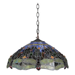 Chloe Lighting - Dragan 3 Light Ceiling Pendant Fixture - Note: Shade colors will appear darker and less vibrant when not illuminated.. The handcrafted nature of this product creates variations in color, size and design. If buying two of the same item, slight differences should be expected.. This stained glass product has been protected with mineral oil as part of the finishing process. Please use a soft dry cloth to remove any excess oil. . Due to the nature of stained-glass, colors may vary. Glass, metal & electrical components. Overall: 17.9 in. L x 17.9 in. W x 8.9 in. H (9.3 lbs.)DRAGAN, Tiffany-style Dragonfly ceiling pendant is handcrafted with pure stained glass, with gem tone, soft pedestals, as well as the Dragonfly motif. ���� The warm color glow of the stained glass will creates warmth to your home. ���� Made with top quality materials.