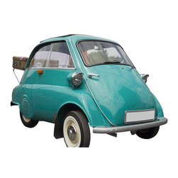 Wallmonkeys Wall Decals - Bmw Isetta with an Old Case Wall Decal - 72 Inches W x 48 Inches H - Easy to apply - simply peel and stick!