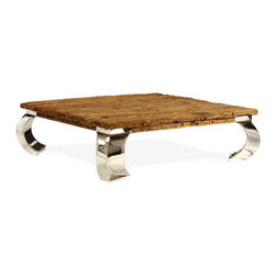 Brownstone Furniture Verona Square Coffee Table - Verona takes the natural beauty of old reclaimed railroad ties and blends it with the updated look of stainless steel. The result is stylish and innovative, while celebrating the warm beauty of reclaimed lumber.