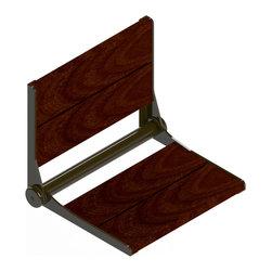 """Invisia - Invisia Brazilian Walnut SerenaSeat Fold Down Seat, Oil Rubbed Bronze, 18"""" - Invisia Brazilian Walnut SerenaSeat Fold Down Seat"""