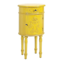"""IMAX - Hockney Yellow Lacquer Table - A contemporary spin on baroque style, this accent table with storage is lacquered and lovely in sunflower yellow.  Item Dimensions: (32.5""""h x 17""""w x 17"""")"""