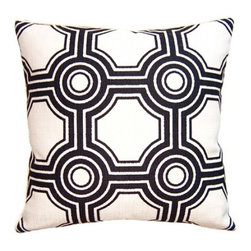 Squarefeathers - Black & White, White Grpahic Pillow - Black and White, Yin and Yang. The Black and White pillow collection will bring balance to your home decor. Made of faux linen with a knife edge trim. It has a soft and pump feataher/down insert inclosed with a zipper. Like all of our products, this pillow is handmade, made to order exclusively in our studio right here in the USA.