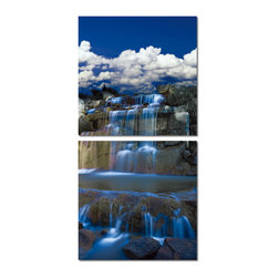 "Baxton Studio - Baxton Studio Cobalt Cascades Mounted Photography Print Diptych - Majestic and ethereal is this steadily flowing waterfall, depicted in a single photograph split into two separate frames. Display this eye-catching vinyl-printed photo mounted on an MDF frame in your home or office for a striking effect. Made in China, this piece of modern wall art features waterproof vinyl and comes ready to hang, though mounting hardware is not included. Easily maintain the beauty of the Cobalt Cascades set by wiping clean with a dry cloth. Product dimension: 19.68""W x 1""D x 19.68""H"