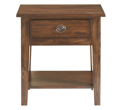 Broyhill - Broyhill Attic Heirlooms Vintage 1 Drawer/1 Shelf Night Stand-Rustic Oak Stain - Broyhill - Nightstands - 439992