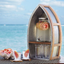 Galvanized Metal Boat Drink Dispenser Cubby - How cute is this? This drink dispenser station screams summer. And it has a spot for your glasses as well.