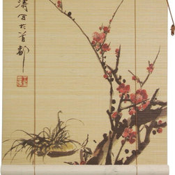 Oriental Furniture - Sakura Blossom Bamboo Blinds - (60 in. x 72 in.) - This traditional bamboo matchstick blind has been printed with an elegant depiction of a blossoming cherry tree, the classic symbol of Japan. This simple, beautiful motif is printed in high definition on all natural bamboo and makes a stylish Eastern accent for the home or office.