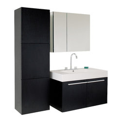 Fresca - Vista Black Modern Bathroom Vanity w Medicine Cabinet Set - Vanity, side cabinet, medicine cabinet, sink, faucet, P-trap, pop-up drain and installation hardware included. Soft closing doors. Widespread faucet mount. Made of MDF, wood veneer with acrylic countertop sink. 1-Year warranty on parts. Assembly instructions. Vanity: 35.5 in. W x 19.75 in. D x 25.75 in. H. Medicine cabinet: 30 in. W x 5 in. D x 26 in. H. Side cabinet: 17.75 in. W x 11.75 in. D x 59 in. HA spacious one basin vanity is a chic addition to any decor. Ideal for anyone looking for a winning combination of style, sleek design and size that brings it all together to present something dashingly urban. A simple, sleekly chic design that compliments any interior that demands to be updated to a strong streamlined space. A beautiful widespread chrome faucet is also included.