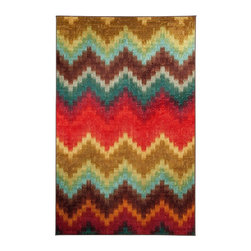 Mohawk - Contemporary Painted Zig Zag 5'x8' Rectangle Multi Color Area Rug - The Painted Zig Zag area rug Collection offers an affordable assortment of Contemporary stylings. Painted Zig Zag features a blend of natural Multi Color color. Machine Made of Nylon the Painted Zig Zag Collection is an intriguing compliment to any decor.