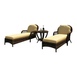 Forever Patio - Leona 3 Piece Traditional Chaise Lounge Set, Canvas Wheat Cushions - Relax with the incredible comfort and style of the Forever Patio Leona 3 Piece Modern Outdoor Wicker Chaise Lounge Set with Gold Sunbrella cushions (SKU FP-LEO-3CLS-MC-CW), sporting a traditional braided wicker design and plush cushions. The set seats 2 adults comfortably, and includes 2 chaise lounges and an end table with a glass top. This set features Mocha resin wicker with a full round design that creates a complex and luxurious look. Every strand of this outdoor wicker is made from High-Density Polyethylene (HDPE) and is infused with the rich color and UV-inhibitors that prevent cracking, chipping and fading ordinarily caused by sunlight, surpassing the quality of natural rattan. The set is supported by thick-gauged, powder-coated aluminum frames that make it extremely durable and resistant to corrosion. Also included are fade- and mildew-resistant Sunbrella cushions. This outdoor chat set's elegant design and comfortable seating will have you out enjoying your patio for years to come.