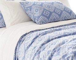 Ramala French Blue Duvet Cover - Superb softness. Charming French blue. A gently distressed, vintage look. All lend the Ramala French Blue Duvet Cover a cozy beauty that invites lounging and lingering. The gorgeously intricate pattern is Indian inspired, inviting dreams of exotic locales and faraway lands. As each cover is enzyme washed, variations in color are to be expected.