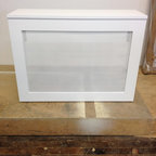 Single Radiator Cover - Small Radiator Cover with white clover screen.