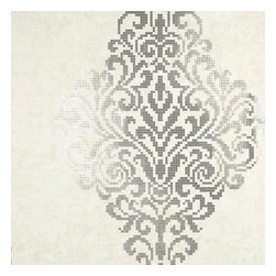 Brewster Home Fashions - Lux Silver Foil Damask Wallpaper Swatch - A large scale damask design is achieved in a modern mosaic style. This couture wallpaper is printed with posh silver foils for a high luster metallic glamour.