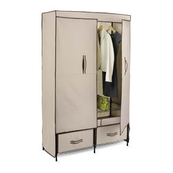 Honey Can Do - Double-Door Wardrobe w Two Drawers - Breathable fabric cover- keeps clothes fresh. 2 pull-out drawers- easy access to stored items. Heavy-duty steel frame- sturdy & rustproof. Versatile storage area- perfect for laundry room, garage or basement. 43.31 in. x 18.11 in. x 70.87 in.. Assembly Instructions