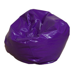 Best Selling Home Decor - Jack and Jill Purple Child size Bean Bag - Comfortable and durable, this child size bean bag chair has a vinyl cover and is filled with a combination of long-lasting polystyrene beans as well as soft and supple foam. They are perfect for kids to sit in a bedroom, home theater rooms, family and game rooms. Complete with an inner bag and a puncture-proof outer vinyl cover that is double-stitched with hidden seams. Color: Various; Materials: Vinyl, polystyrene beans, foam; Weight: 6 pounds; Diameter: 28 inches; Fill: Virgin polystyrene beans and foam; Closure: Double YKK zipper is added for durability and then sealed shut for safety; Cover: Cover is double-stitched along all seams and is not removable; also includes hidden stitching and seams; Puncture proof; Care Instructions: Spot Clean; Dimensions: 20 inches high x 28 inches wide x 28 inches deep; Made in the US; Trademarked; Kid friendly; Separate lining insert is not intended for use without an outer cover.